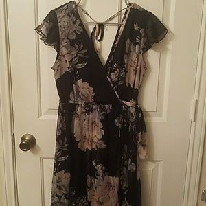 Floral Dress with Sheer Overlay